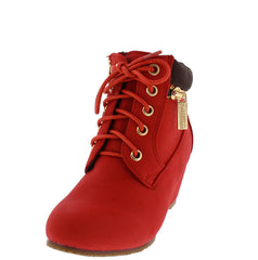 SALLY31K RED KIDS LACE UP GOLD ZIPPER BOOT - Wholesale Fashion Shoes
