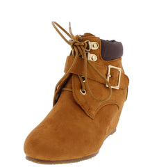 SALLY36K TAN LACE UP SINGLE STRAP KIDS WEDGE BOOT - Wholesale Fashion Shoes - 2