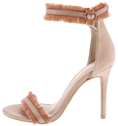 Salona Mauve Open Toe Ankle Strap Fringe Accent Heel - Wholesale Fashion Shoes