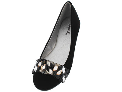 Salya826 Black Nub Beaded Gem Ballet Flat - Wholesale Fashion Shoes