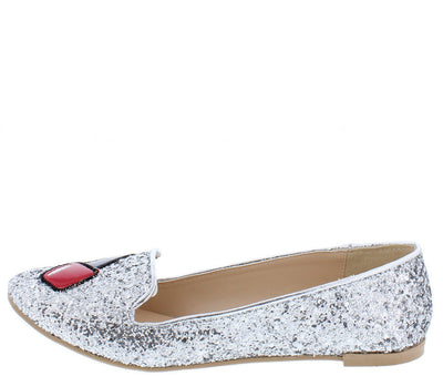 Salya864x Silver Glittery Whimsical Nail Polish Loafer Flat - Wholesale Fashion Shoes