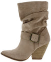 Sam02 Taupe Side Buckle Angled Heel Boot - Wholesale Fashion Shoes