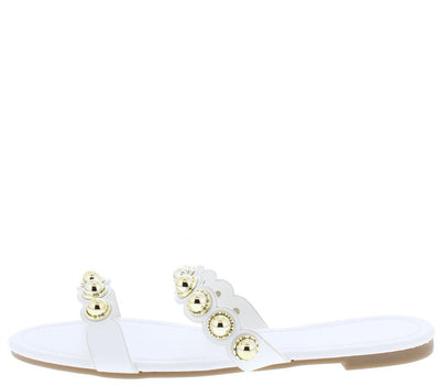 Madison126 White Pu Open Toe Studded Dual Strap Sandal - Wholesale Fashion Shoes