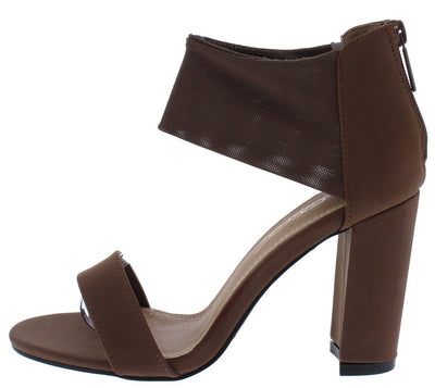 Samara1 Brown Mesh Ankle Open Toe Tall Chunky Heel - Wholesale Fashion Shoes