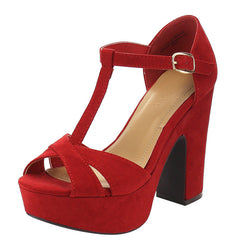 SANDBAR35V RED T-STRAP CHUNKY PLATFORM HEEL - Wholesale Fashion Shoes