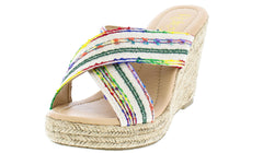 SANDRA07 WHITE MULTI COLOR EMBROIDERED BRAIDED HEMP WEDGE - Wholesale Fashion Shoes