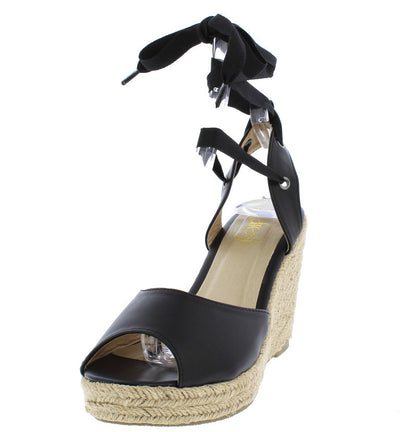Sandra10 Black Ankle Wrap Braided Hemp Sandal Wedge - Wholesale Fashion Shoes