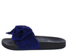 Sandy08 Royal Blue Open Toe Double Bow Mule Slide Sandal - Wholesale Fashion Shoes