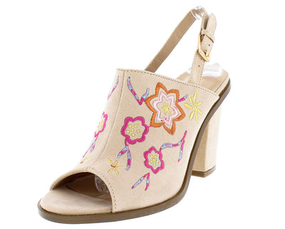 Santo Beige Multi Colored Embroidered Sling Back Mule Chunky Heel - Wholesale Fashion Shoes