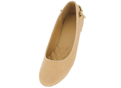 Zoey23 Nude Chain Back Ballet Flat - Wholesale Fashion Shoes