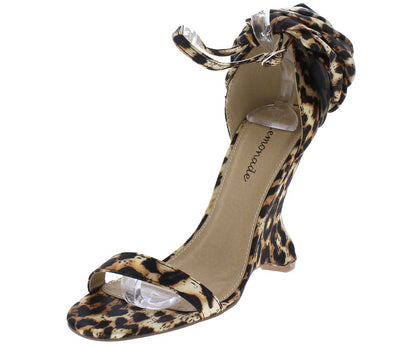 Sasha Leopard Open Toe Ankle Strap Rosette Curved Wedge - Wholesale Fashion Shoes