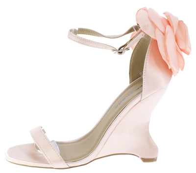 Sasha Nude Open Toe Ankle Strap Rosette Curved Wedge - Wholesale Fashion Shoes