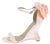 Sasha Nude Open Toe Ankle Strap Rosette Curved Wedge