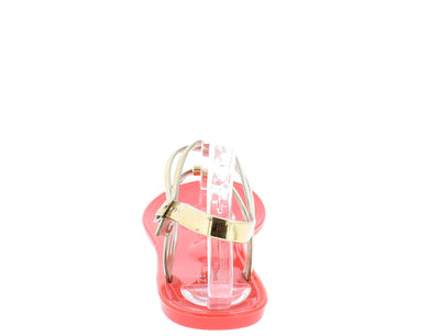 Sassy1 Coral T-strap Triple Strap Rhinestone Sandal - Wholesale Fashion Shoes