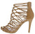 Satan Taupe Knotted Strappy Caged Stiletto Heel