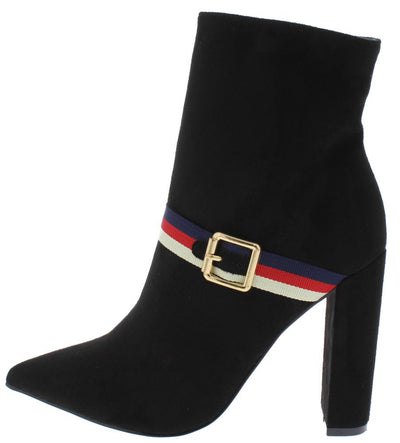 Eliana043 Black Pointed Toe Stripe Buckle Ankle Boot - Wholesale Fashion Shoes