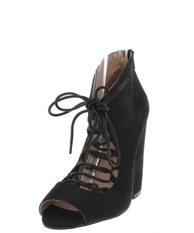Sawyer05 Black Lace Up Peep Toe Ankle Boot - Wholesale Fashion Shoes