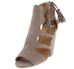 SAWYER44 TAUPE SUEDE PU SUEDE TASSEL SLANTED HEEL - Wholesale Fashion Shoes