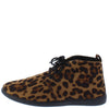 Scala02 Leopard Slight Extended Shaft Lace Up Sneaker Flat - Wholesale Fashion Shoes