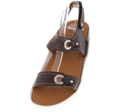 Scope13 Brown Studded Grommet Buckle Top Stitch Sling Back Flat Sandal - Wholesale Fashion Shoes