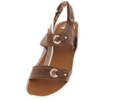 Scope13 Tan Studded Grommet Buckle Top Stitch Sling Back Flat Sandal - Wholesale Fashion Shoes