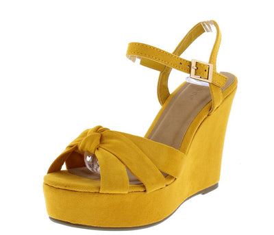 Scorpio42 Marigold Knotted Open Toe Ankle Strap Platform Wedge - Wholesale Fashion Shoes