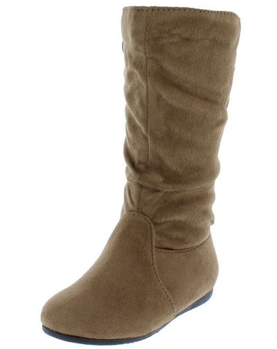 Selena23k Taupe Round Toe Knee High Kids Boot - Wholesale Fashion Shoes