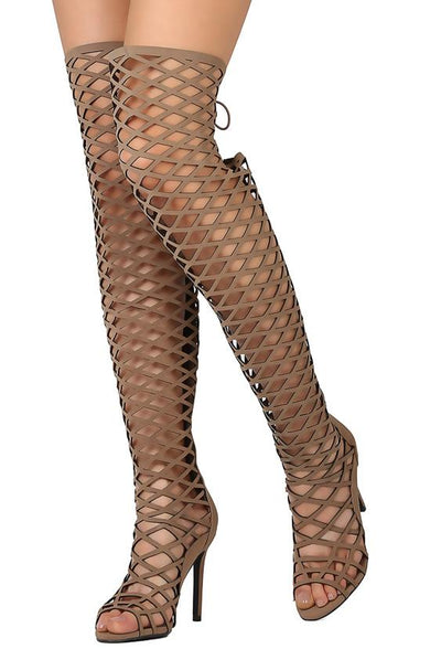Selena42 Natural Thigh High Peep Toe Weave Stiletto Boot - Wholesale Fashion Shoes