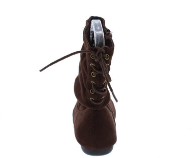 Selena51 Brown Slouch Lace Up Ankle Boot - Wholesale Fashion Shoes