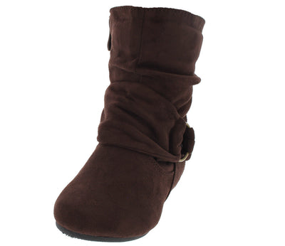 Selena58k Brown Slouch Buckle Kids Boot - Wholesale Fashion Shoes