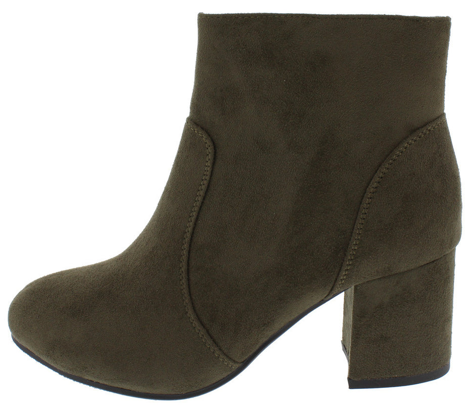 Women's Cuffed Button Closed Toe Chunky Stacked Block Heel Ankle Bootie