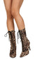 Bella271 Leopard Pointed Toe Lace Up Mid Calf Boot