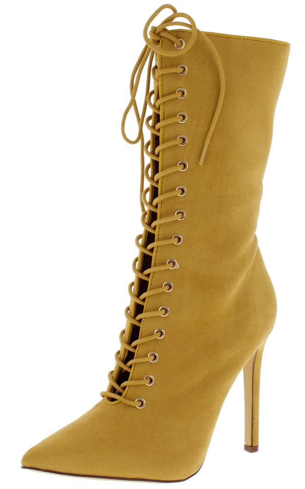 Women's Mid Calf Lace-Up Pointy Toe Boots (8 Camel)