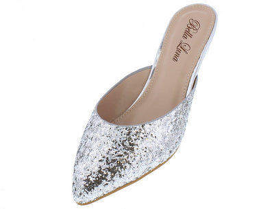 Senori01 Silver Glitter Metallic Pointed Toe Mule Flat - Wholesale Fashion Shoes