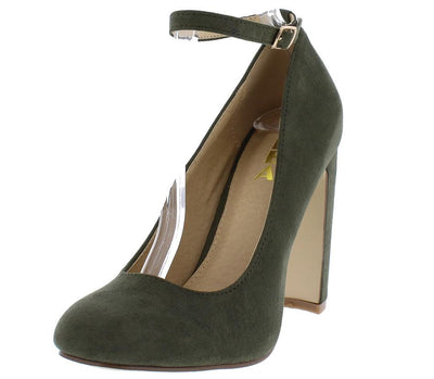 Sera1 Olive Almond Toe Mary Jane Slanted Heel - Wholesale Fashion Shoes