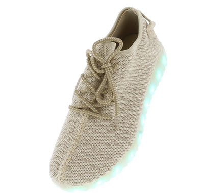 Serina01 Natural Heathered Fabric LED Lace Up Sneaker Flat - Wholesale Fashion Shoes