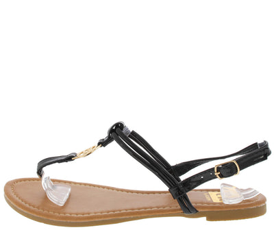 Setllatz1 Black Emblem Thong Sandal - Wholesale Fashion Shoes