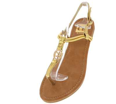 Setllatz1 Gold Emblem Thong Sandal - Wholesale Fashion Shoes