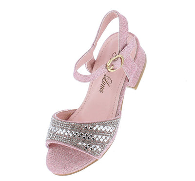 Shaine02 Pink Sparkle Rhinestone Open Toe Kids Low Heel - Wholesale Fashion Shoes