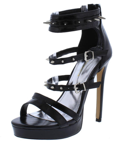 Sharper Black Studded Multi Strap Platform Stiletto Heel - Wholesale Fashion Shoes