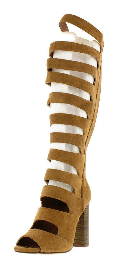 Shasta Camel Strappy Knee High Stacked Heel Boot - Wholesale Fashion Shoes