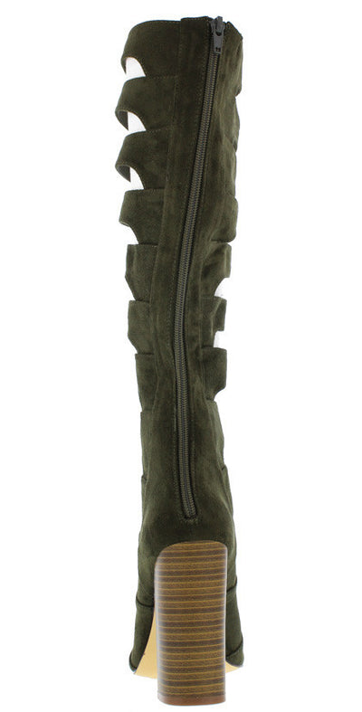 Shasta Olive Strappy Knee High Stacked Heel Boot - Wholesale Fashion Shoes