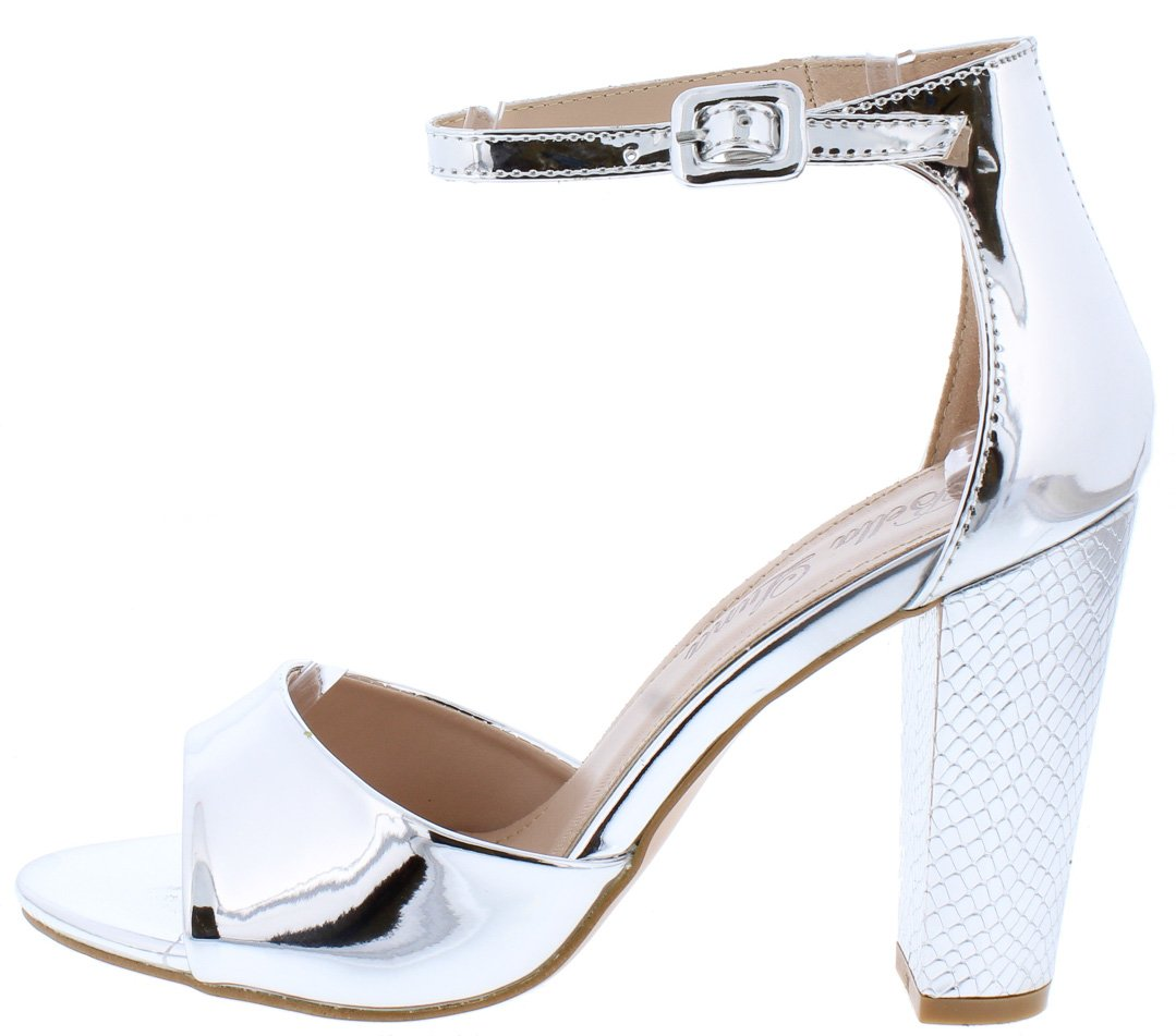 1377a17239d2f6 Shaw04 Silver Patent Metallic Open Toe Ankle Strap Heel - Wholesale Fashion  Shoes