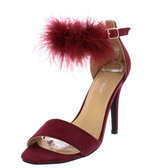 SHEENA5 WINE FEATHER WOMEN'S STILETTO HEEL - Wholesale Fashion Shoes