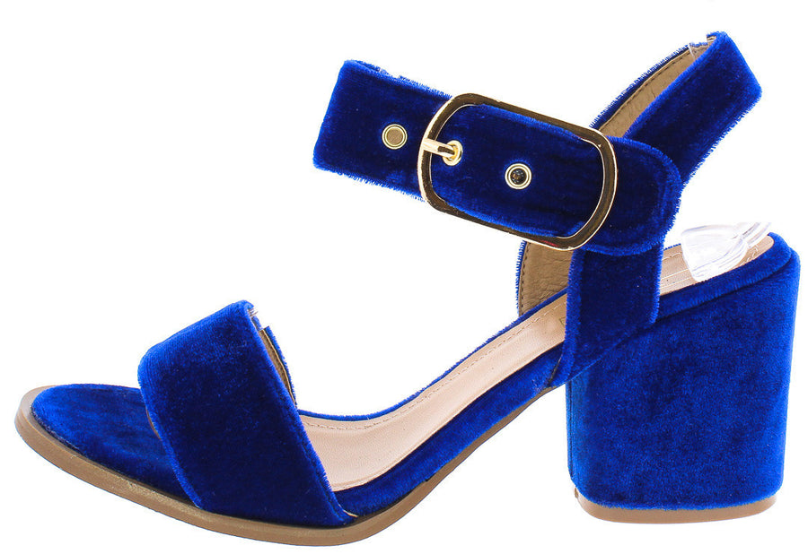 5257369a133 Shelo03 Blue Velvet Ankle Strap Small Chunky Heel - Wholesale Fashion Shoes