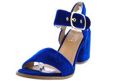 SHELO03 BLUE VELVET ANKLE STRAP SMALL CHUNKY HEEL - Wholesale Fashion Shoes