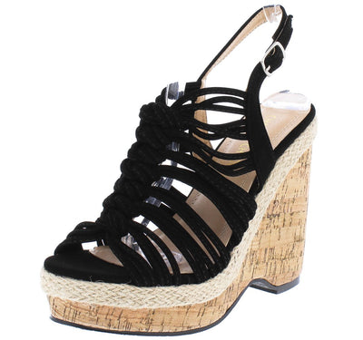 Aurora123 Black Knotted Strappy Open Toe Slingback Cork Wedge - Wholesale Fashion Shoes
