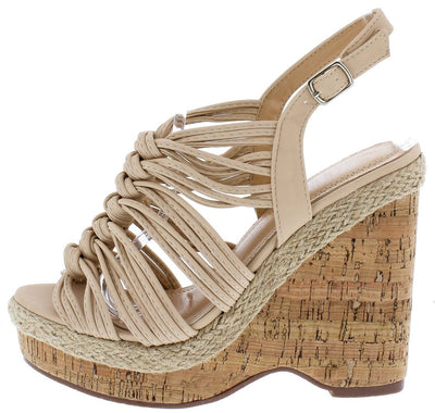 Aurora123 Nude Knotted Strappy Open Toe Slingback Cork Wedge - Wholesale Fashion Shoes