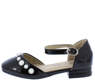 Sherri002 Black Round Toe Pearl Stud Kids Short Chunky Heel - Wholesale Fashion Shoes