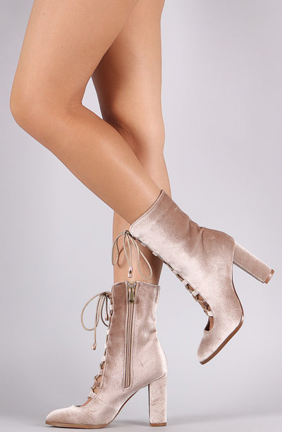 Sheila Taupe Almond Toe Lace Up Extended Shaft Boot - Wholesale Fashion Shoes
